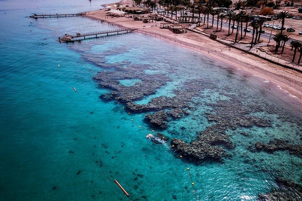 צילום אויר של שמורת האלמוגים